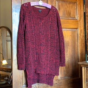 Torrid  Burgundy/Black Cable Knit Hi-Lo Sweater 0